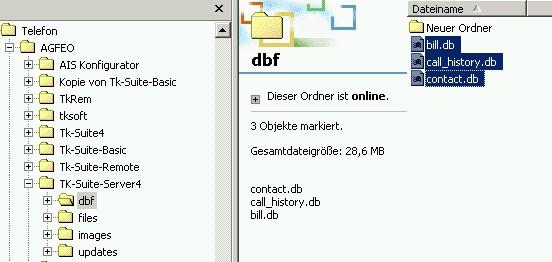 Speicherort db Dateien